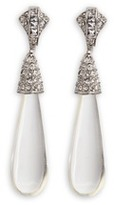 Kenneth Jay Lane Glass crystal pavé resin teardrop clip earrings