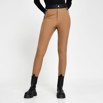 River Island Womens Beige ponte high waist button trousers