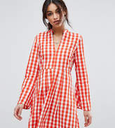 Vero Moda Gingham Flared Sleeve Mini Waisted Dress