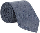 Blue Herringbone Dot Silk Tie