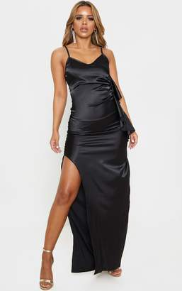 PrettyLittleThing Petite Black Frill Detail Double Split Satin Maxi Dress