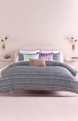 Kate Spade Charcoal Scallop Row Full/Queen Comforter 3-Piece Set