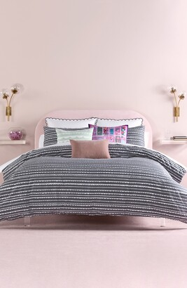 Kate Spade Charcoal Scallop Row Twin Duvet Cover 2-Piece Set