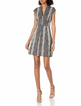 Halston Women's Fit and Flare Organic Notch Dress