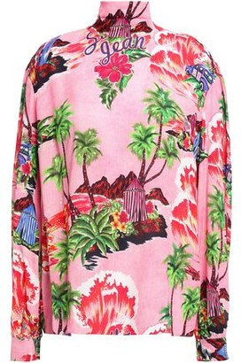 Stella Jean Bow-detailed Printed Crepe Blouse