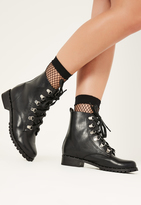 Missguided Black Lace Up Studded Sole Boots