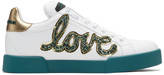 Dolce & Gabbana White Glitter Love Patch Sneakers