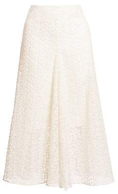 Akris Women's Floral Appliqué Midi Skirt
