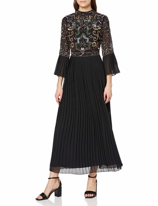 Frock and Frill Women's Joy Pleated Sleeve and Skirt Embellished Midi Dress Party