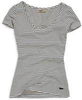 Timeout White Stripe Fitted Scoop Neck Tee