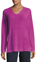 Eileen Fisher Long-Sleeve Organic Linen V-Neck Top