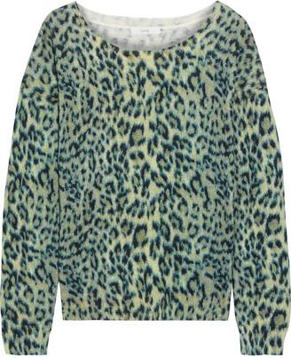 Joie Eloisa Leopard-print Cotton And Cashmere-blend Sweater