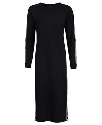 HUGO Nuery Tape Logo Jersey Split Side Dress Colour: BLACK, Size: XS