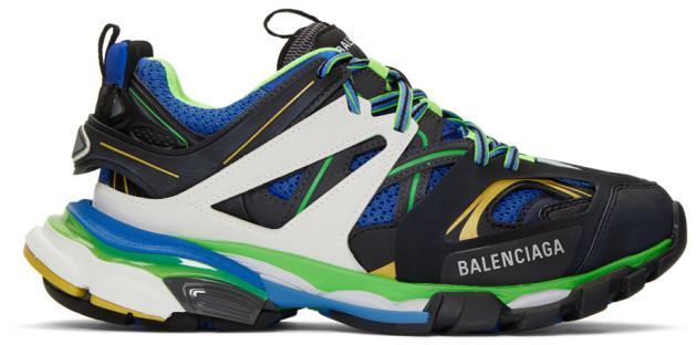 Balenciaga Black and Blue Track Sneakers