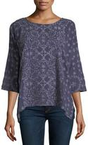 Johnny Was Jossy Embroidered 3/4-Sleeve Top