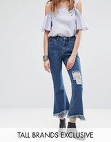 Glamorous Tall Distressed Detail Frayed Hem Jeans