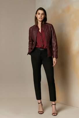 Wallis Berry Faux Leather Stitch Front Jacket
