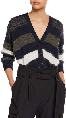 Brunello Cucinelli Mohair Striped Button-Front Cardigan
