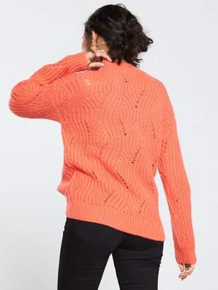 Very Stitch Detail Turtleneck Blouson Sleeve Jumper - Rose Red