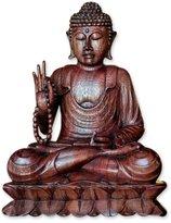 "Novica Religious Wood Sculpture, 11.75"" Tall 'Serene Buddha'"