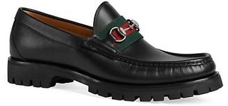 Gucci Leather Web Horsebit Loafer