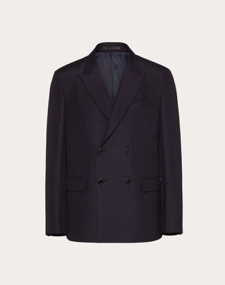 Valentino Double-breasted Jacket In Cotton And Silk Man Blue Cotton 85%, Silk 15% 48