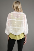 Zoa Crinkle Embroidered Cardigan in White