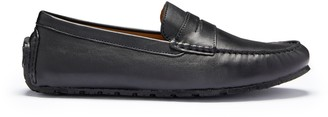 Hugs & Co Tyre Sole Penny Driving Loafers Black Leather