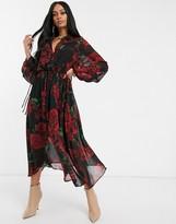 NA-KD Na Kd drawstring rose print midi chiffon dress in black