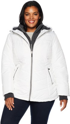 Details Women's Plus Size Thigh-Length Puffer Jacket with Sweatshirt Bib