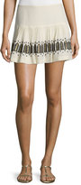 Figue Chachani Embroidered Mini Skirt, Ivory