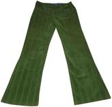 Escada Green Cotton Trousers for Women