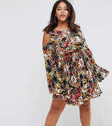 Club L Plus Cold Shoulder Busy Floral Detailed Swing Dress With Extreme Sleeve Flute Detail