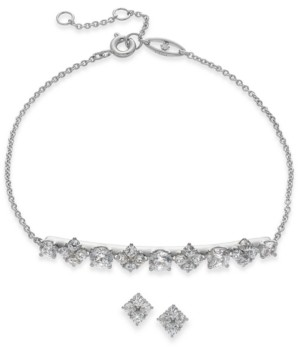 Eliot Danori Silver-Tone Crystal & Stone Bracelet & Stud Earrings Set, Created for Macy's
