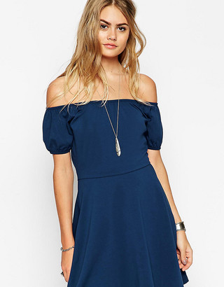 Asos TALL Gypsy Off Shoulder Mini Skater Dress
