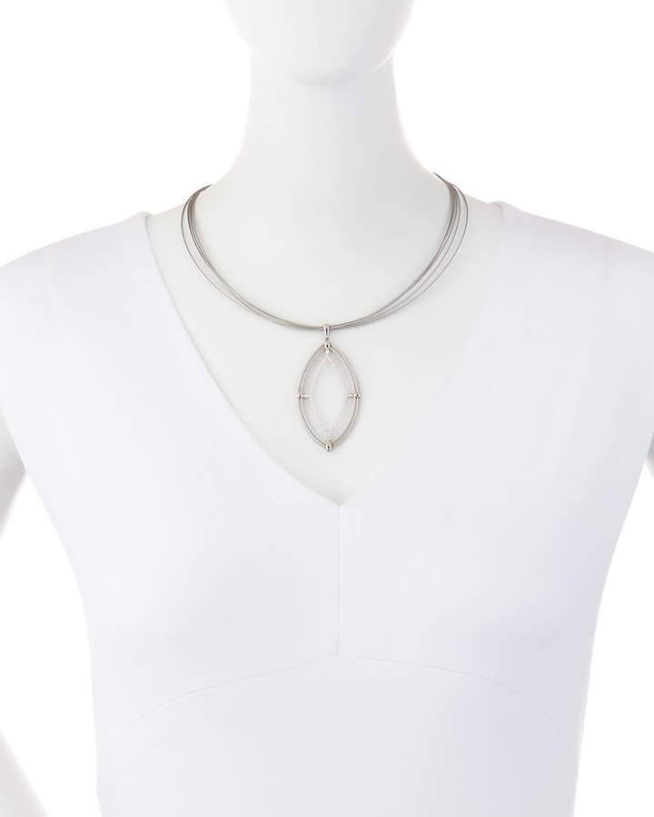 Alor Classique Cable & Diamond Marquise Pendant Necklace