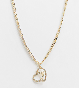 ASOS DESIGN Curve necklace with fairy in a heart pendant in gold tone