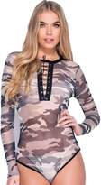 MIXLOT Ladies Grey Camouflage Army Print Sexy Tops Bottom Eyelet Mesh Bodysuits