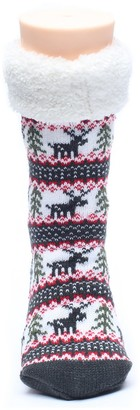 Ofoot Winter Polyester Knitted Deer Pattern Stockings Christmas Style Home Slipper Socks for All Ages (S/M 3-4 B(M) UK