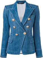 Balmain double-breasted denim blazer - women - Cotton/Polyester/Viscose - 36