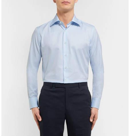 Canali Blue Slim-Fit Cotton-Twill Shirt