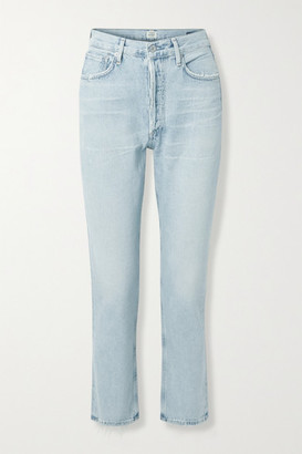 Citizens of Humanity Charlotte Distressed High-rise Straight-leg Jeans - Light denim