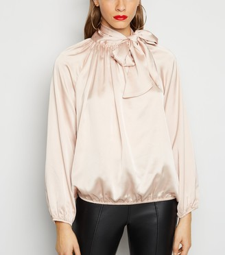 New Look Cameo Rose Satin Tie Neck Blouse