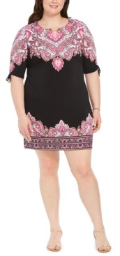 JM Collection Petite Printed Ruched-Sleeve Dress, Created for Macy's