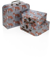 Infant Milkbarn Set Of 3 Animal Print Suitcases - Grey