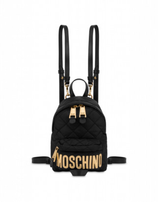 Moschino Mini Quilted Backpack With Logo Woman Black Size U It - (one Size Us)