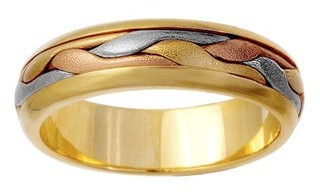 Wedding Rings Depot 14K Tri Color Gold Women's Comfort-Fit Handmade Wedding Band