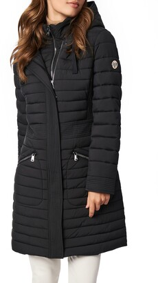 Bernardo Recycled Micro Touch Water Resistant Packable Hooded Jacket