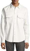 Valentino Embroidered Military Shirt, White