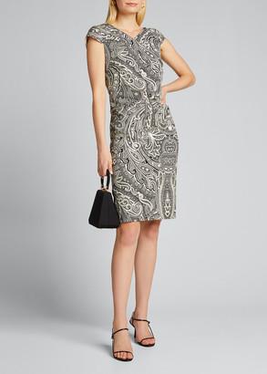 Max Mara Vosci Paisley-Print Cap-Sleeve Dress